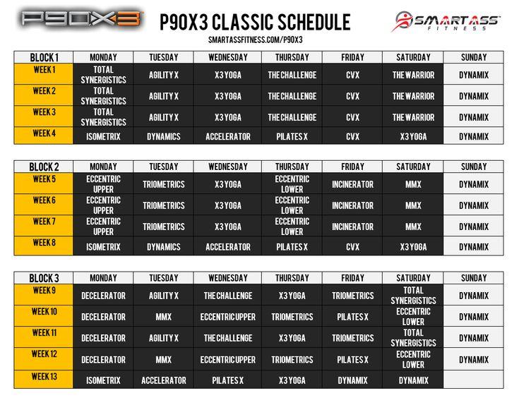 P90x3 workout schedule