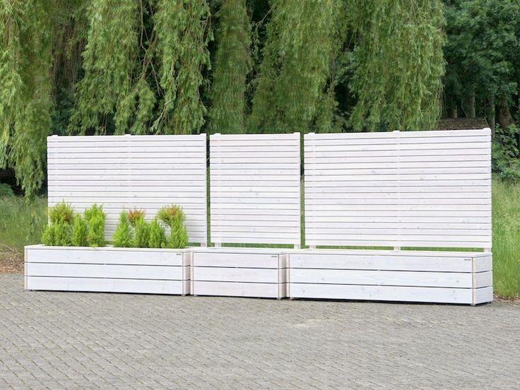 Sichtschutz mit Pflanzkasten Holz - Reihe