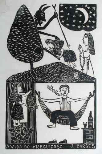 J. Borges Xilogravura Cordel Arte Primitiva Naif Brasileira - R$ 400,00