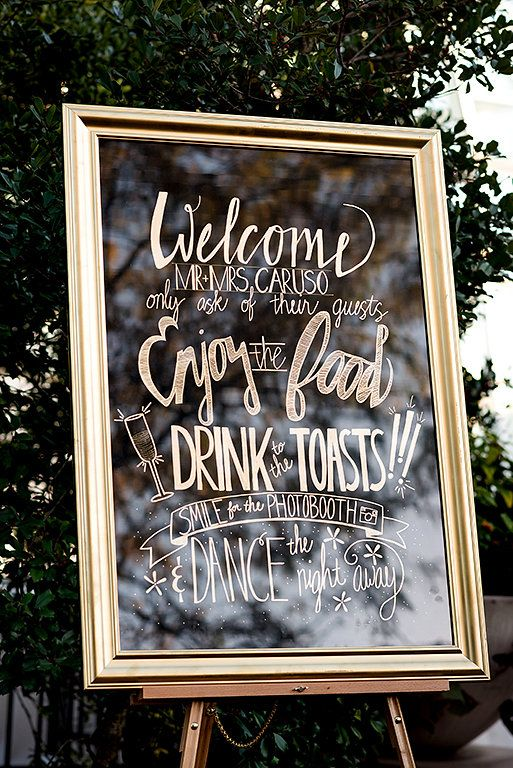 Stunning gold chalk sign! so classy and Gatsby-like. View the full wedding here: http://thedailywedding.com/2016/06/04/glamorous-floral-wedding-abbey-matt/