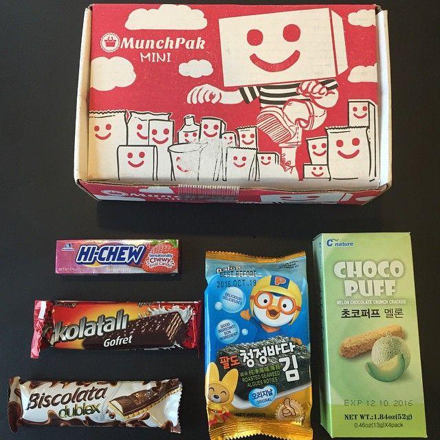 Første #munchpak i 2016: koreansk melon chocolate crunch cracker ristede tang/a…