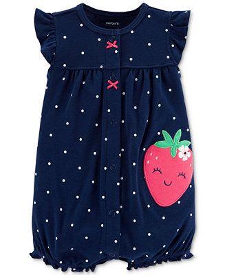 d92c9c2e2 Carter's Baby Girls Dot-Print Strawberry Cotton Romper Kids - All Baby -  Macy's