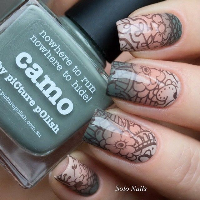 """""""MUTED FLORAL = 'Malt-teaser, Beige, Camo + Beige stamped with MoYou Explorer 22 nails by @solo_nails ❤️❤️❤️️thanks Julia :) ⭐️That Remover + Those Wipes +…"""""""