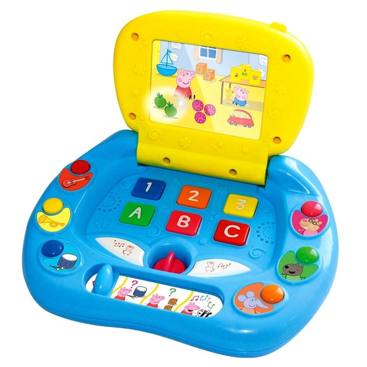 Peppa Pig My First Laptop helps children aged two and over learn about colours, numbers and letters while playing the four different game modes – discovery, two quizzes and music.This Peppa Laptop will entertain your little ones for hours.