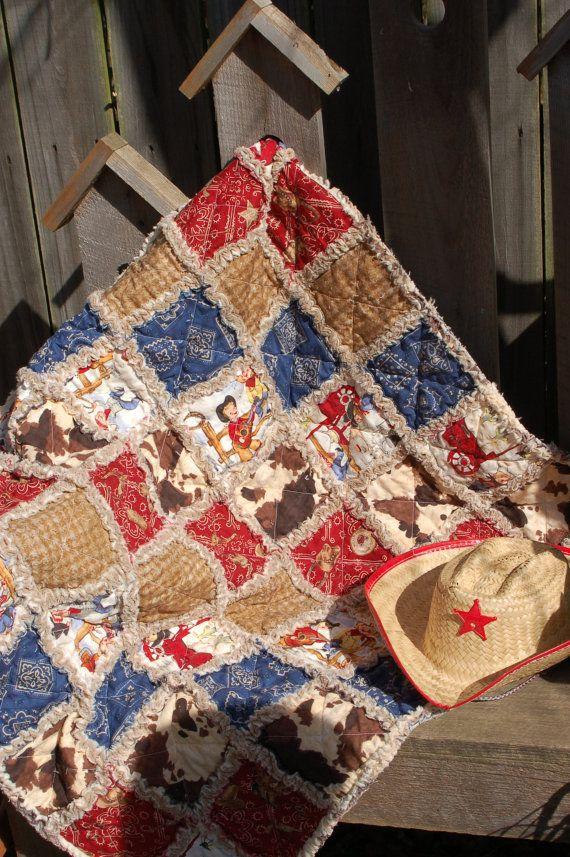 Baby Boy Cowboy Western Bandana Rag Quilt Cotton by craftinjenn, 56.00