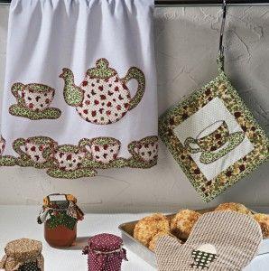 applique teapot and teacup designs