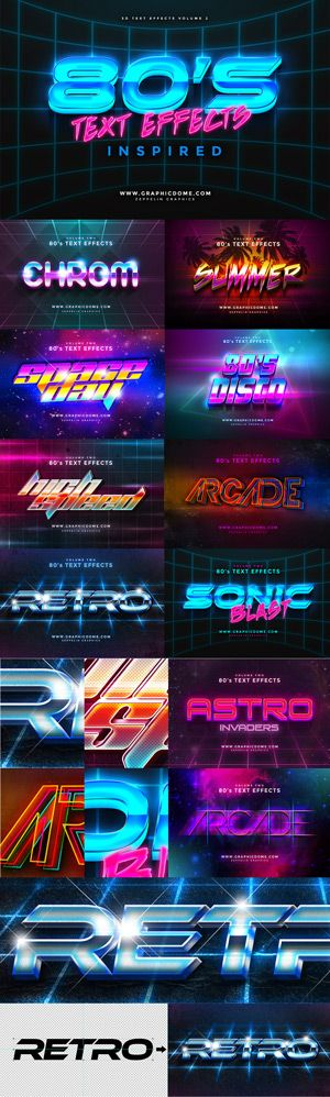 80s Text Effects for Photoshop by Zeppelin Graphics