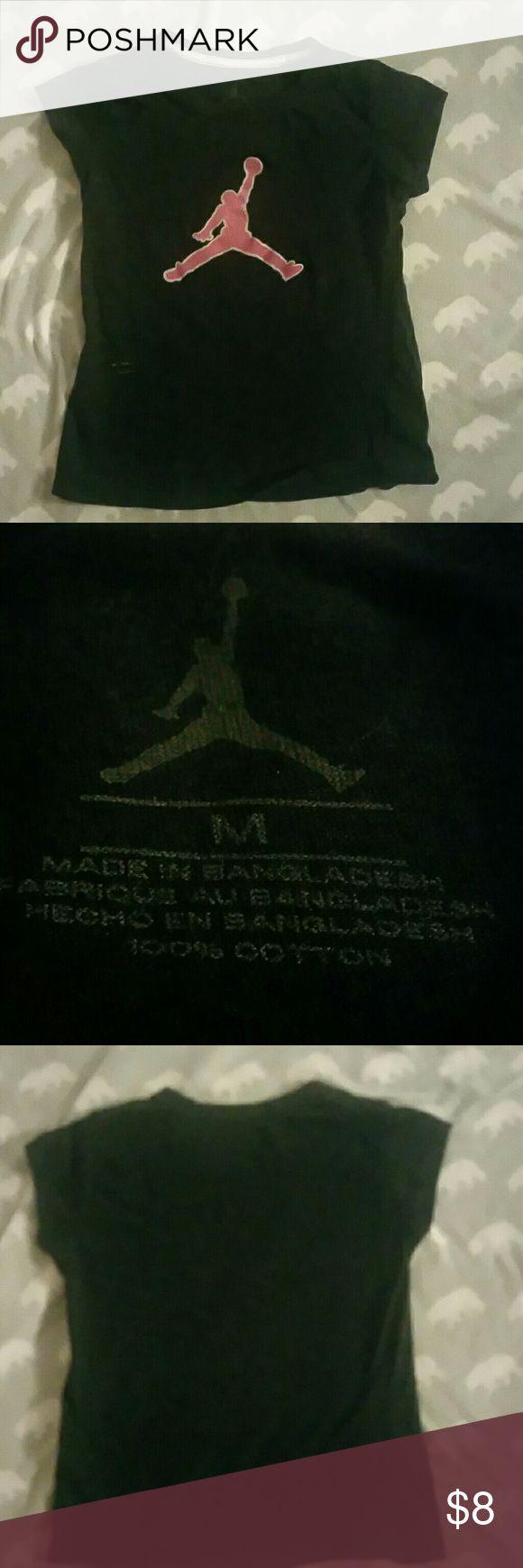 Black Jordan Tee-shirt. Great quality, pink and black, Jordan logo featured on front. Jordan Shirts & Tops Tees - Short Sleeve