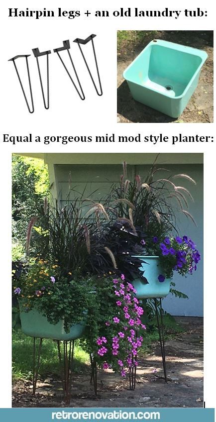 Great idea for a DIY midcentury modern style planter! Hairpin legs rock!