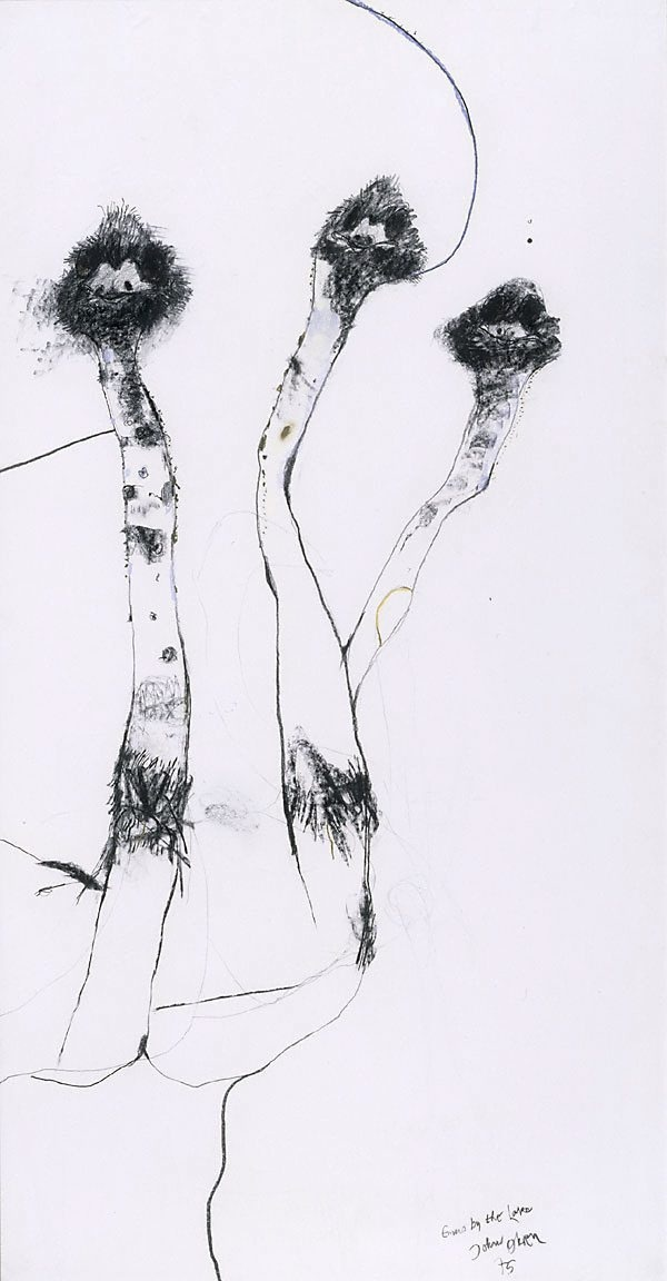 Emus by the lake, (1975) by John Olsen :: The Collection :: Art Gallery NSW