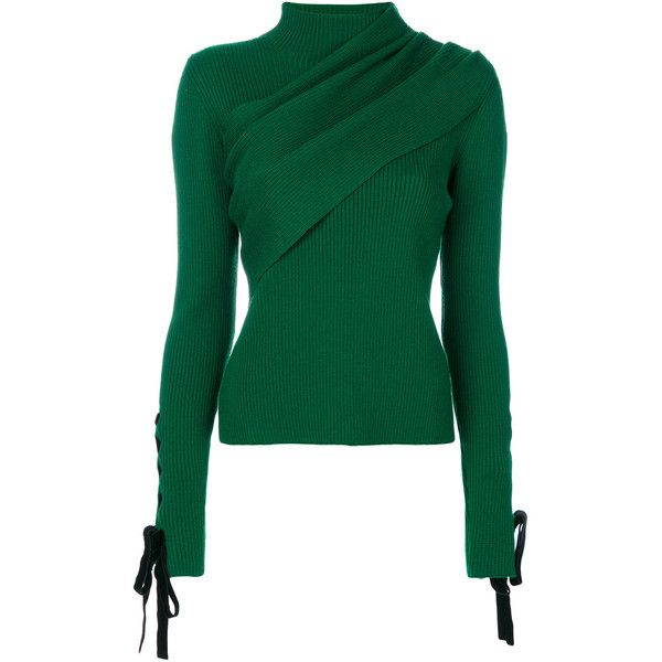 Elie Saab ribbed lace-up sleeve jumper (€940) ❤ liked on Polyvore featuring tops, sweaters, green, green top, ribbed lace up top, elie saab, ribbed sweater and lace front sweater