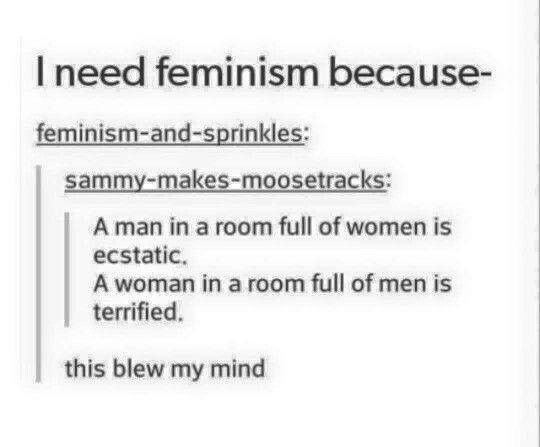 "The most sad thing... Feminism = Gender/Sex EQUALITY, not ""women are better than men."" I'm a man and I see this. Pull yourselves together; WOMEN CAN BE MEN TOO, AND WOMEN A R E  MANKIND TOO."
