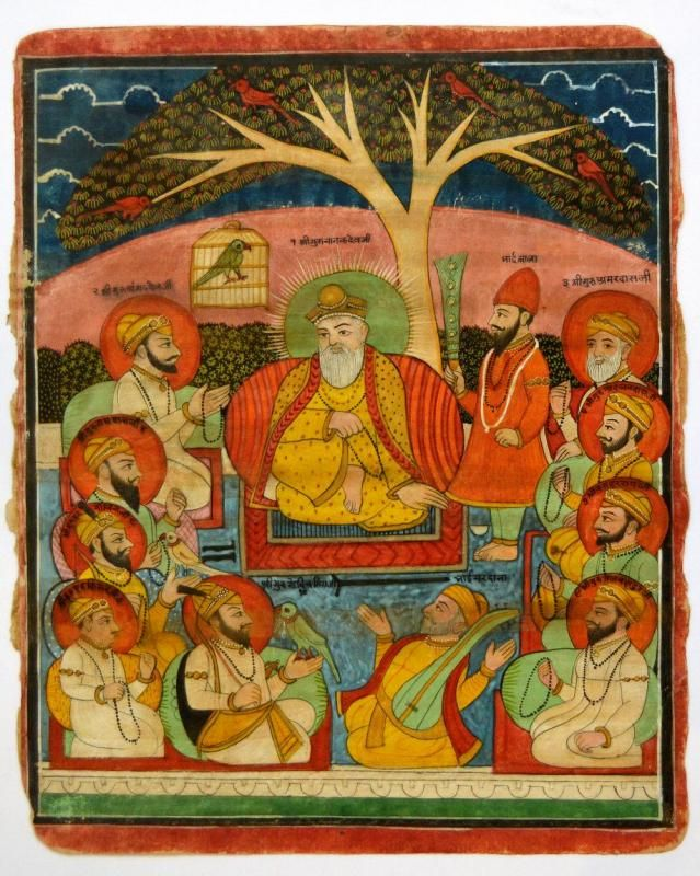 Sikh School, late 19th century, an Indian miniature painting depicting ten gurus, opaque watercolour on paper, 29x24.2cm - Price Estimate: £1500 - £2000
