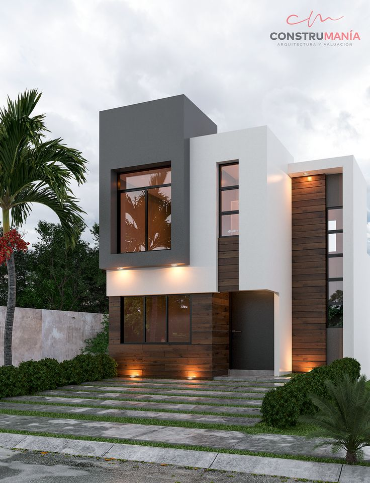 TOMAS EXTERIORES on Behance Modern House Colors, Modern Small House Design, Small House Exteriors, Modern Exterior House Designs, Modern House Facades, Latest House Designs, Small Modern Home, Minimalist House Design, Exterior Design