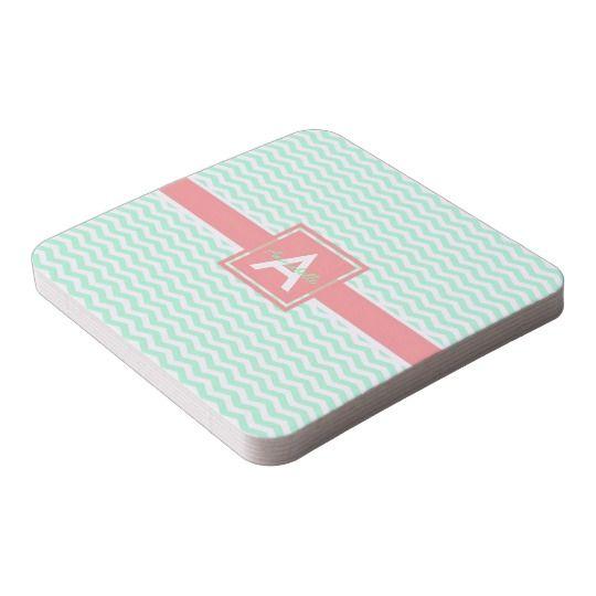 Mint coral chevron coaster #ad
