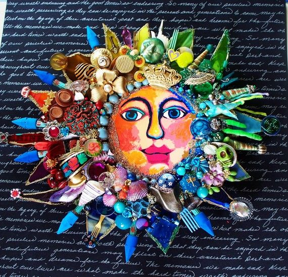 The Fantastic Bead Mosaics SUN Series You are My SunSHINE by bluemoose on Etsy, colorful mosaic sun with face in center.
