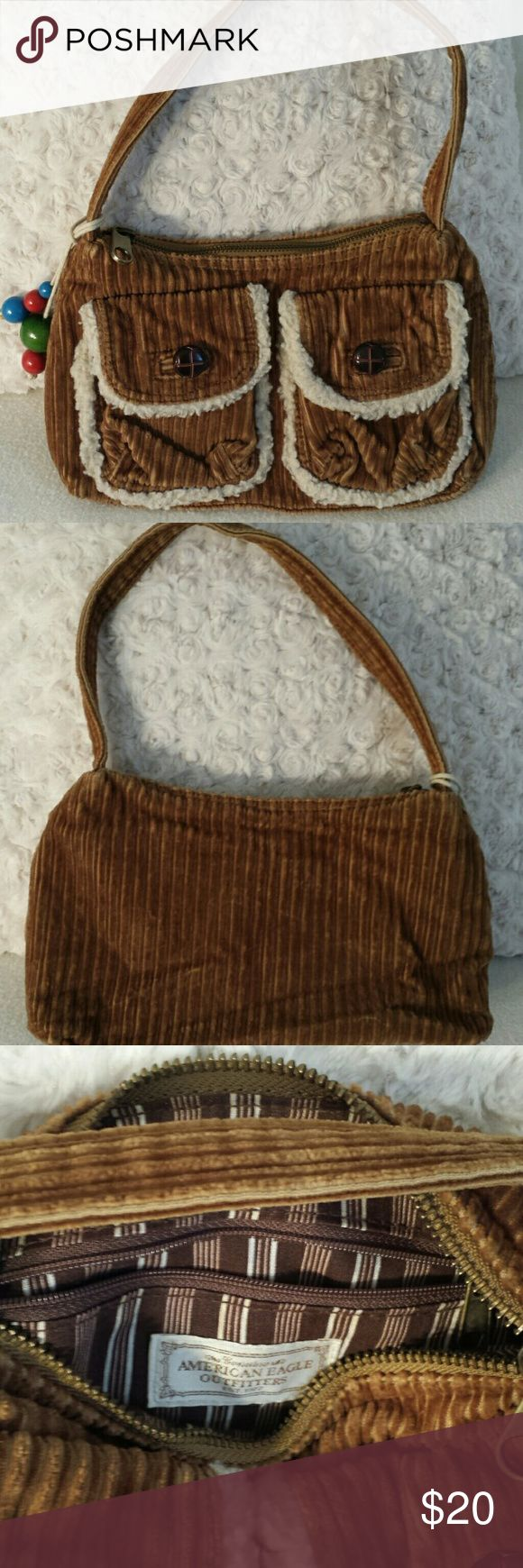 American Eagle beige corduroy baguette Super cute American eagle corduroy bag W10 x HD x D3x good condition American Eagle Outfitters Bags Clutches & Wristlets