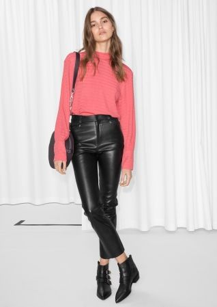 & Other Stories | High Waisted Leather Trousers