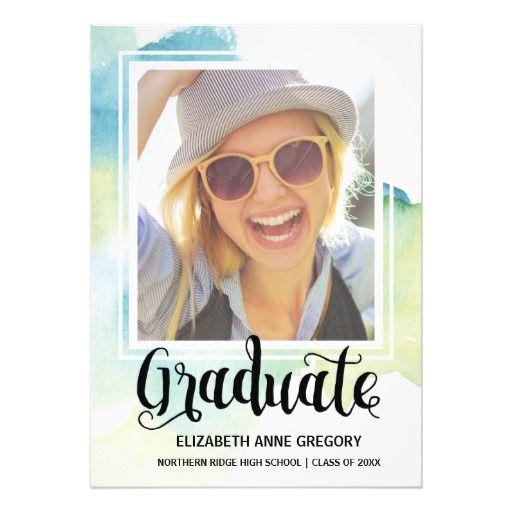 Chic Watercolor | Calligraphy Photo Graduation Card