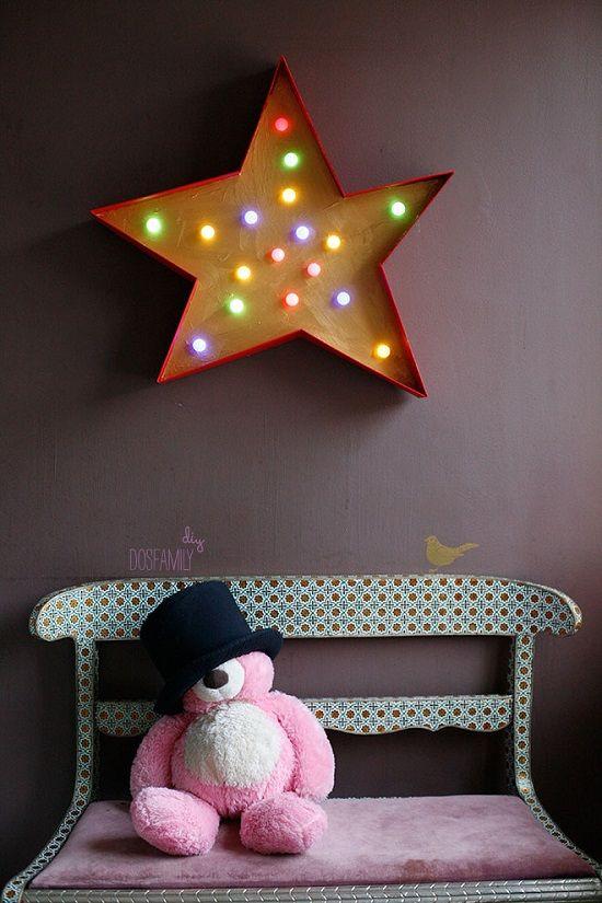 marquesina estrella DIY: Siluetas y Rotulos Luminosos para la habitación infantil