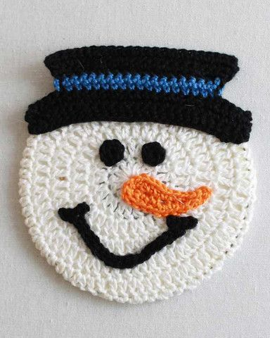 Decorate your home this Christmas with these festive crochet snowman coasters.: