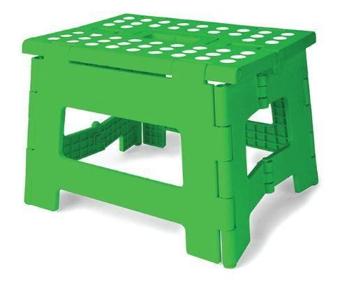 Kikkerland Rhino Easy Fold Step Stool, Short, Green