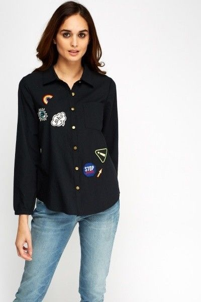 Black Fun Applique 100% cotton shirt - XL- (UK14-16) , by Swan , Brand new  #Swan #Shirt #Casual