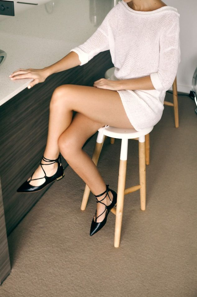 An Effortless 'Summer Nights' Look With Lace-Up Flats