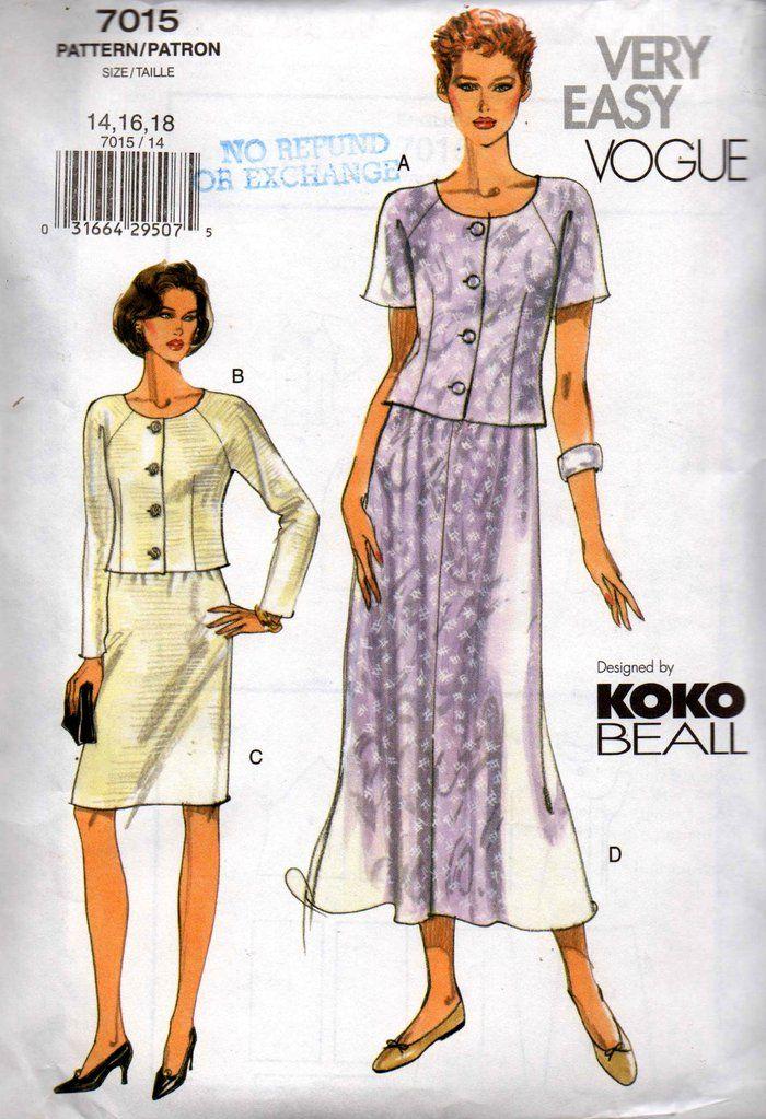 Vogue 7015 KOKO BEALL Womens Raglan Sleeved Top & Skirt OOP Sewing ...