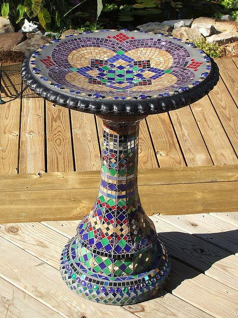 Does this inspire you ? Mosaic Birdbath... an idea starter.    Finished birdbath by Bamasusanna, via Flickr