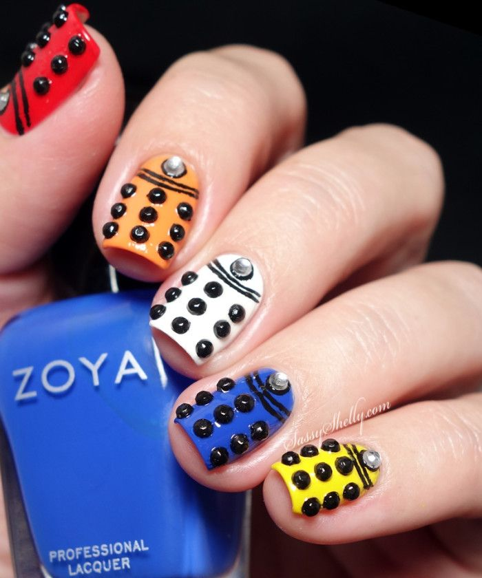 Doctor Who Nail Art - rhinestone studded colorful Daleks | Sassy Shelly