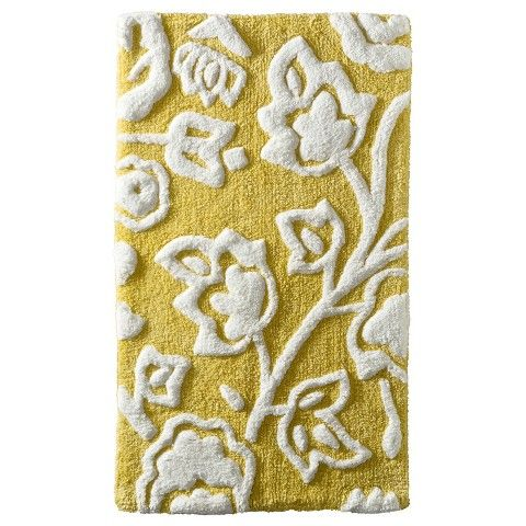 Floral Bath Rug Yellow Threshold You Think The Grey
