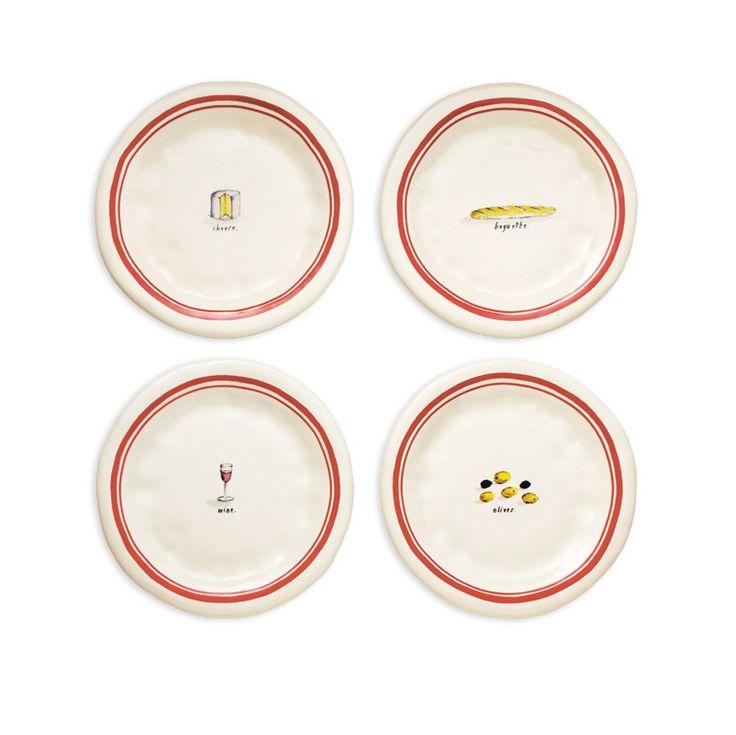 Rae Dunn French Picnic Plates, Set of 4