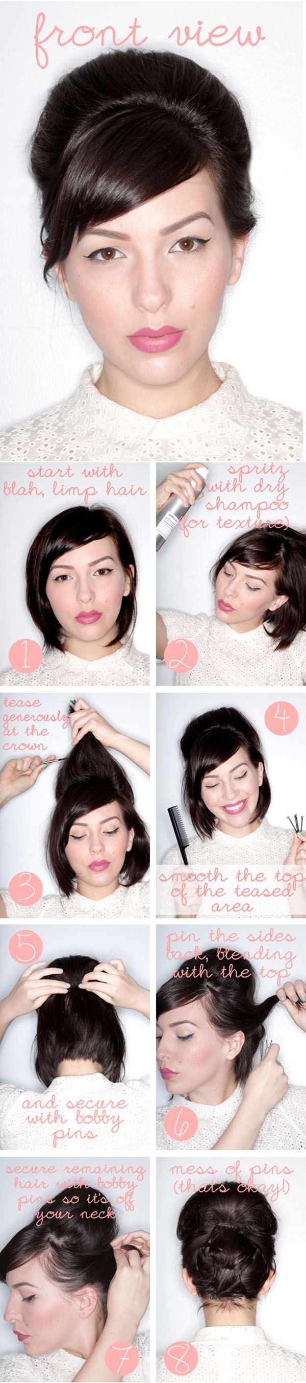 How to do an updo with short hair from Keiko Lynn and Hair Romance #hair #shorthair #updo #hairstyles http://www.hairromance.com/2013/05/how-to-do-an-updo-in-short-hair.html