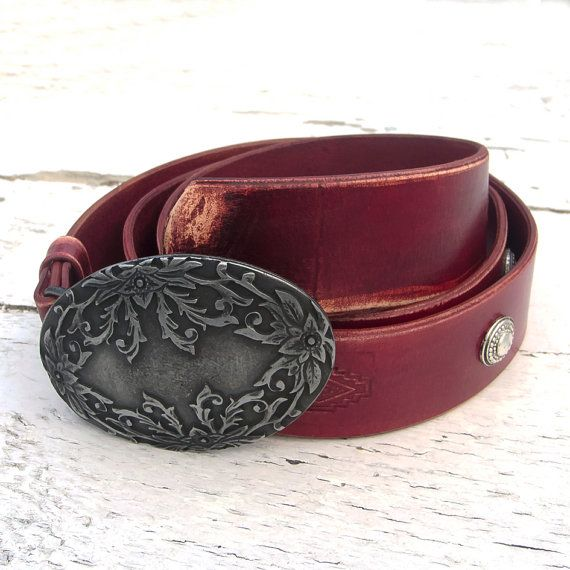 Men's Leather Belt Art Nouveau leather belt for men by JeansBelt