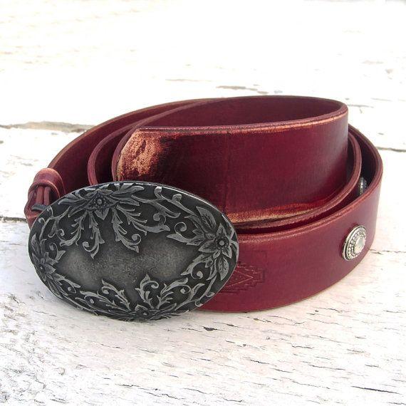 Men's Leather Belt Art Nouveau leather belt for men by JeansBelt