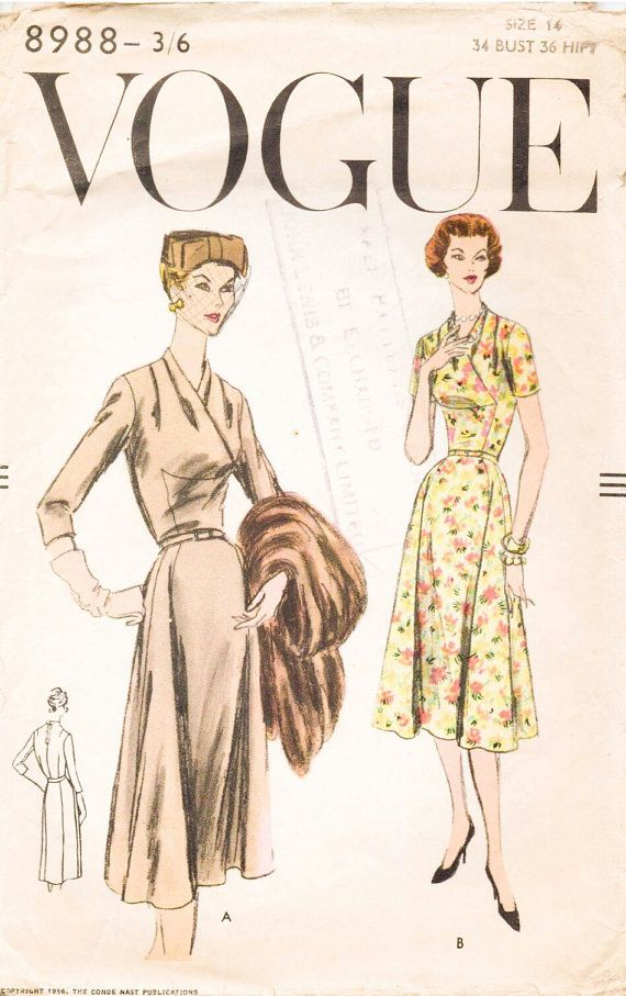 Hey, I found this really awesome Etsy listing at https://www.etsy.com/listing/235538547/vogue-pattern-8988-1950s-dress-smart-day
