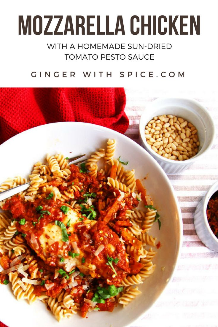 Mozzarella Chicken and Tomato Pesto Sauce. You can have both that delicious homemade mozzarella chicken AND spare time, because this will only take 35 minutes! Sweet homemade tomato sauce with a sun-dried kick and creamy, melted mozzarella, what's not to love? Cick to find the recipe. #mozzarella #italian #food #recipe #comfort #chicken