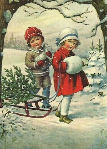 Pulling Sled Through Snow on Christmas Day....reépinglé par Maurie Daboux .•*`*•. ❥