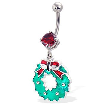 Christmas Wreath Belly Button Ring