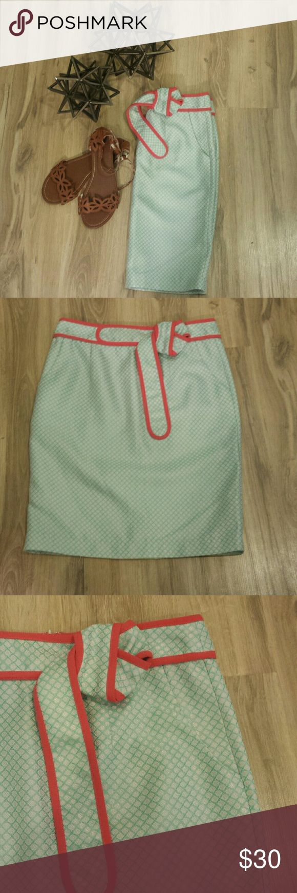 """Boutique Skirt NWT Woman's teal, white, and coral pencil skirt with pockets, brand new from boutique, perfect spring and summer skirt!! Measurements: 14.5"""" waist & 21"""" long eunishop Skirts"""