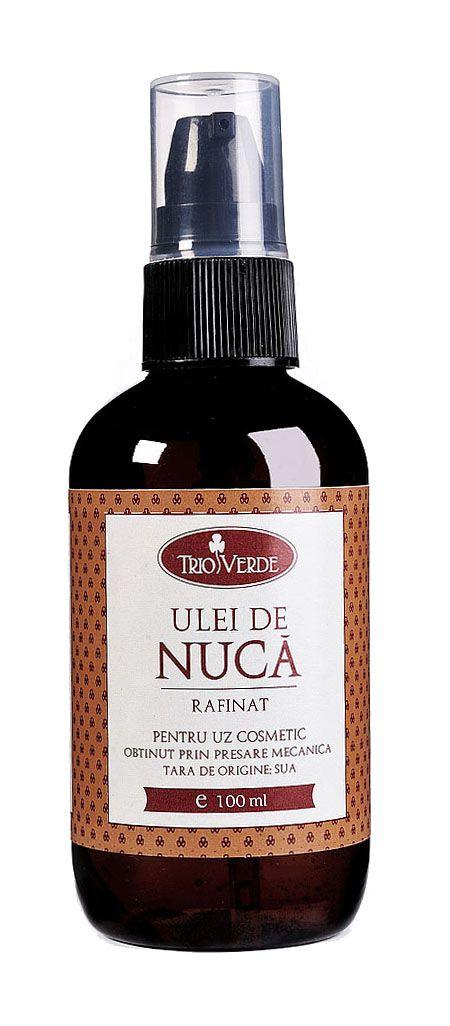 Ulei de Nuca rafinat 50ml  Nucul (Juglans regia) este originar din Asia Mică și Grecia. Uleiul este extras din fructele sale, ce conțin de la 50 pana la 70% ulei. Acesta este o  combinație de antioxidanți, vitamine (E, B1, B2, B3, niacină ) și omega-3, ceea ce il face un agent foarte puternic împotriva infecțiilor fungice, psoriazisului, pielii aspre și uscate.  http://www.vreau-bio.ro/uleiuri-bio-cosmetice/122-ulei-de-nuca-rafinat-100ml.html