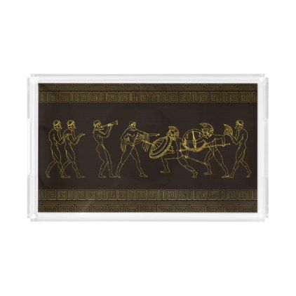 Ancient Sparta  Greece scene on greek pattern Acrylic Tray - personalize cyo diy design unique