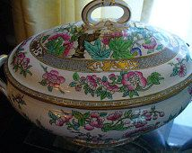 Hand Painted Vintage Soup Tureen Asian Style Chipped Bottom Server Large Ceramic Server Chrysanthemums Covered Dish Dining Entertaining