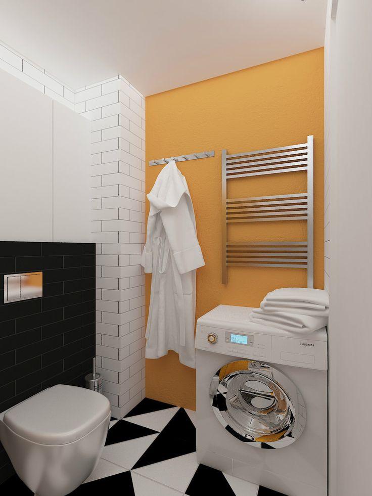 ванная комната в дизайне интерьера маленькой студии