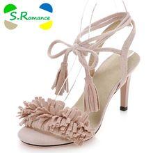 S. Romantiek Vrouwen Sandalen Plus Size 34-43 Mode Zomer Kantoor Hoge Hak Dames Pompen Kant-up schoenen Vrouw Zwart Rood Roze SS731(China (Mainland))