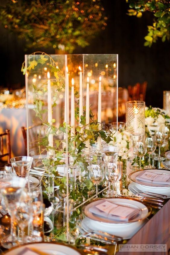 Glamorous ballroom candle wedding centerpiece / http://www.deerpearlflowers.com/wedding-ideas-using-candles/2/