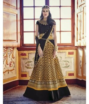 Vibrant Yellow Net Partywear Suit $115.00. Fetch grace and glamour for your ethnic collection by adding the Vibrant Yellow Net Partywear Suit to it. The classy combination of yellow and black comes together with the gorgeous designer embroidery to make this piece an absolute stunner.