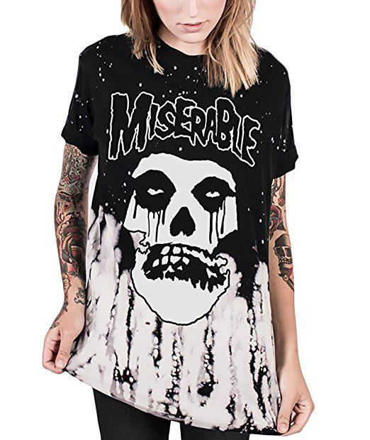 T-Shirt Damen Halloween Kurzarm Rundhals Mit Aufdruck Schädel Totenkopf Horror Festlich Unique T Shirt Young Fashion Basic Casual Sommer Top Bluse