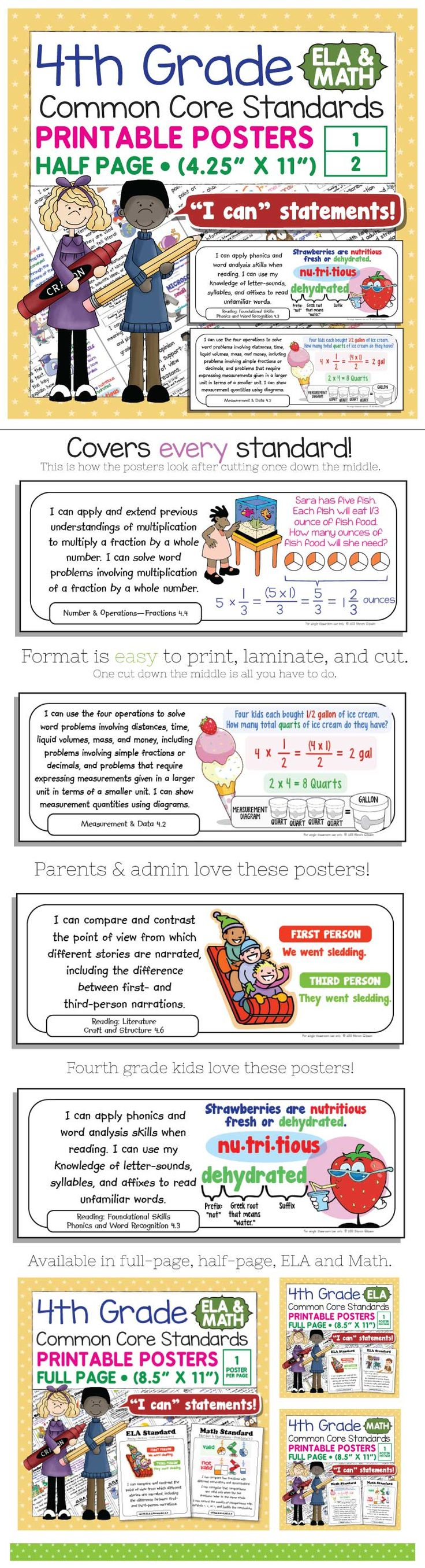 "Bring the Common Core Standards to life with these easy-to-use ""I can"" posters for fourth grade math. Just print, laminate, cut and hang! This bundle includes posters for every math Standard. Each standard is illustrated to aid comprehension. The illustrations are cute but not babyish - just right for the age range of students in fourth grade classrooms."